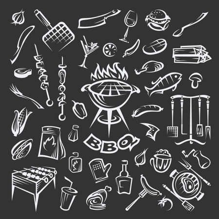 food: Collection of different barbecue elements in black background Illustration