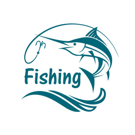 ocean waves: Swordfish fishing emblem with waves and hook