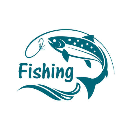 water: Salmon fishing emblem with waves and hook