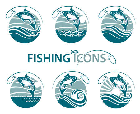river: Collection of fishing emblems with waves and hook