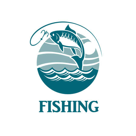 Illustration of fishing emblem with waves and hook