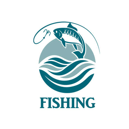 water: Illustration of fishing emblem with waves and hook