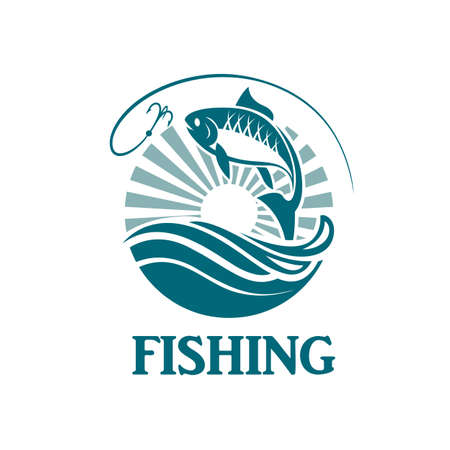 river: Illustration of fishing emblem with waves and hook