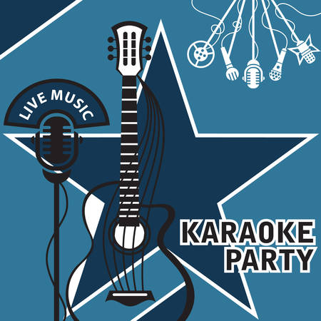 cd label: Banner with microphone and guitar for karaoke Illustration