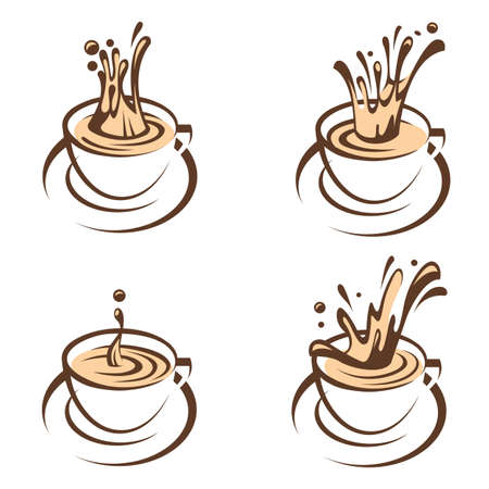 Collection of cups with splashing coffee