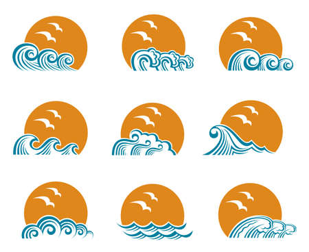 Collection of ocean logos with waves and seagulls