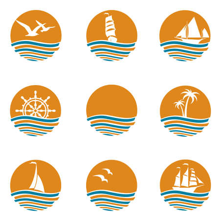 drop water: Collection of ocean logos with waves and sun