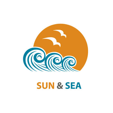 river: abstract design of ocean logo with waves and seagulls Illustration
