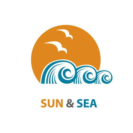 voyage: conception abstraite de l'océan logo avec des vagues et des mouettes