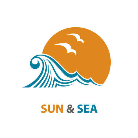 shiny: abstract design of ocean logo with waves and seagulls Illustration