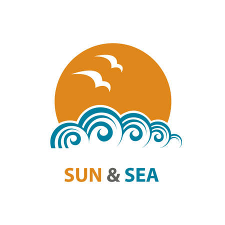 voyage: abstract design of ocean logo with waves and seagulls Illustration