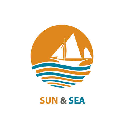 Abstract design of ocean logo with waves and sailboat