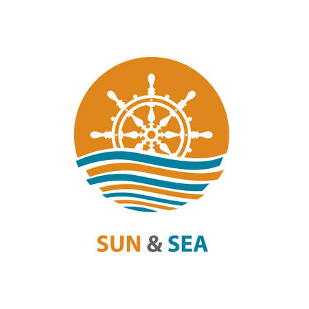 image: Abstract design of ocean logo with waves and helm