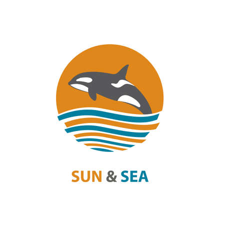 water wave: Logo with waves and killer whale