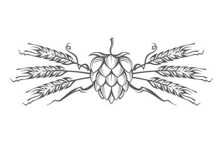 logo: black illustration of hop and barley ear for brewing Illustration
