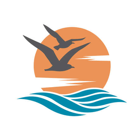 gaviota: Logotipo del océano con el sol y las gaviotas