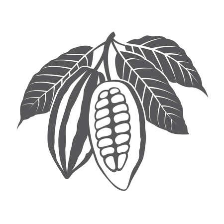 Monochrome cacaobonen en laat illustratie zien