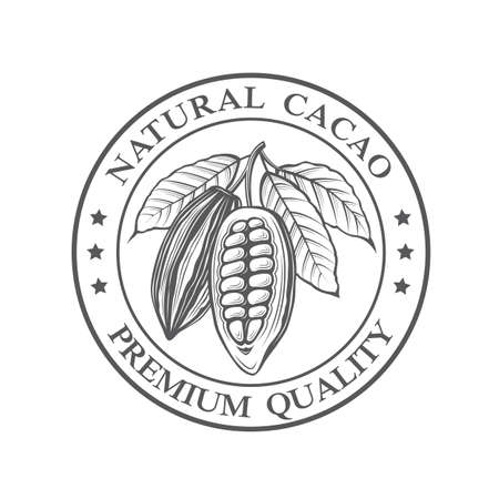 coffee beans: Monochrome cocoa beans and leaves stamp
