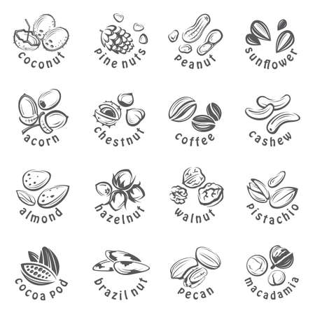Collection of monochrome nuts icons Ilustração