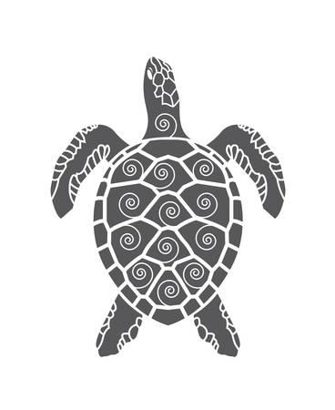 Icono de tortuga de mar negro aislado sobre fondo blanco Foto de archivo - 80497706