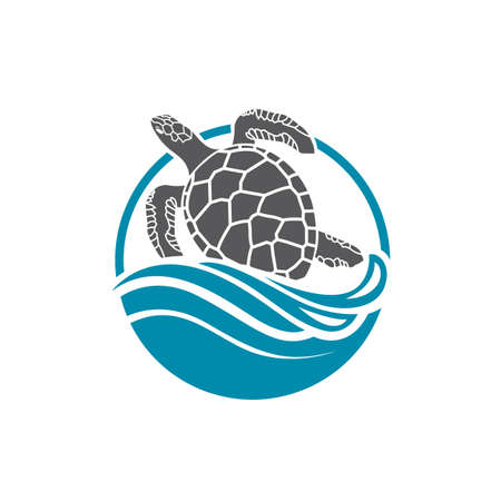 Sea turtle icon with water wave Иллюстрация