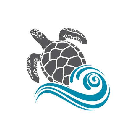 Mar tortuga icono con la ola de agua Ilustración de vector