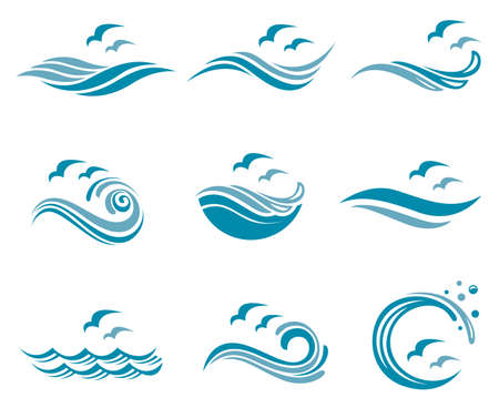 Collection of ocean logo with waves and seagulls Фото со стока - 80562565