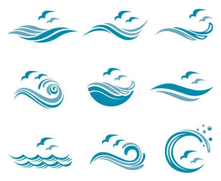Collezione di logo oceano con onde e gabbiani