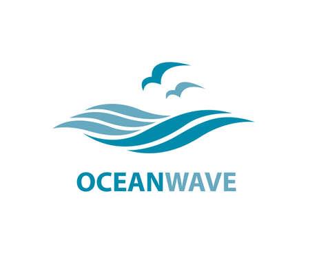 Oceaan logo met golven en meeuwen