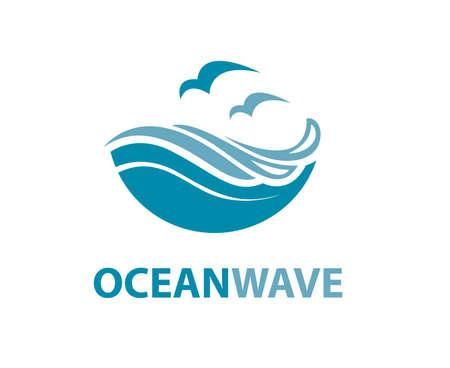 波とカモメ海ロゴ  イラスト・ベクター素材