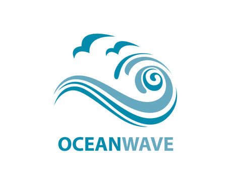 drops of water: Ocean logo with waves and seagulls