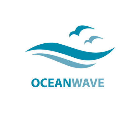moisture: Ocean logo with waves and seagulls