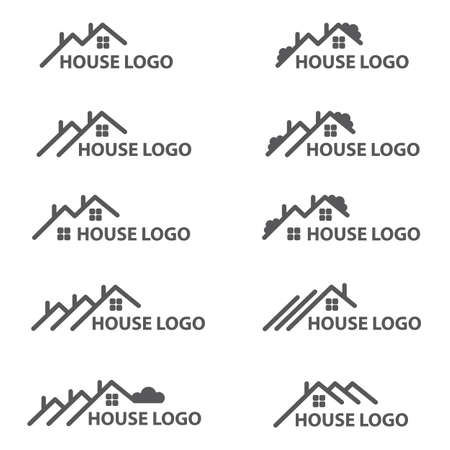 tree logo: Monochrome collection of house logos Illustration