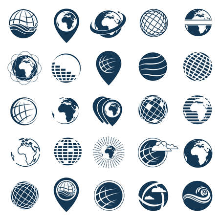 Collection of earth planet globe logo Illustration