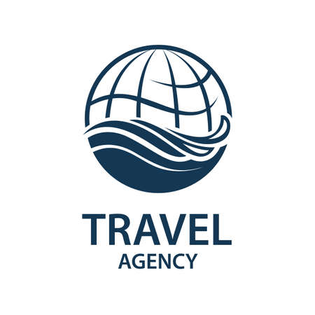 map pin: Earth planet globe logo for travel agency