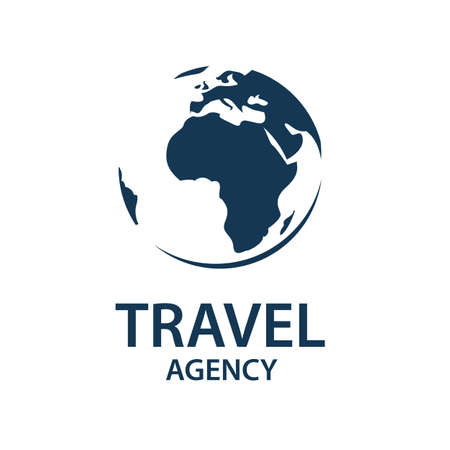Earth planet globe logo for travel agency