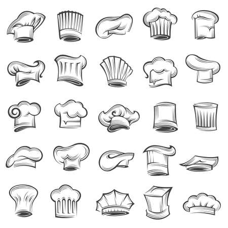 master: Monochrome set of chef and cook hats