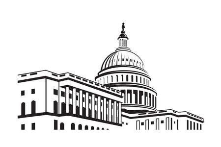 Ícone do edifício do Capitólio dos Estados Unidos em Washington DC Ilustración de vector