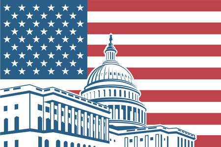 Capitool van de Verenigde Staten pictogram in Washington DC Vector Illustratie