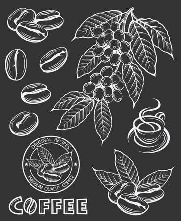 berry: Collection of coffee branch, beans and cup Illustration