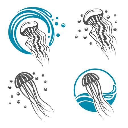 Colección de iconos de medusas con las olas del mar. Ilustración de vector