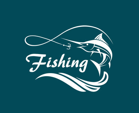 Fishing emblem with waves and hook