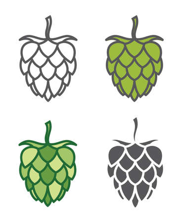 Icons collection of hops for brewing Illustration
