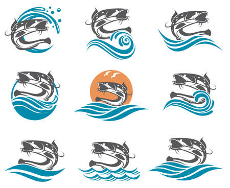 Collection of catfish images with waves Illustration