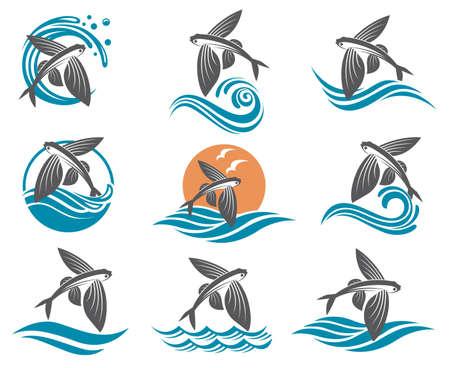 Collection d'images de poissons volants avec des vagues