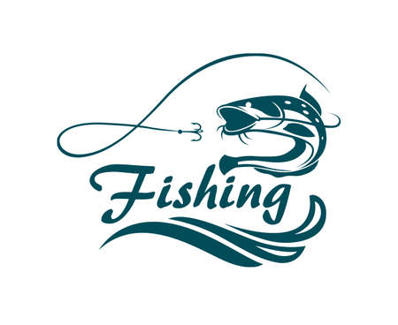 ocean waves: Fishing emblem with catfish, waves and hook