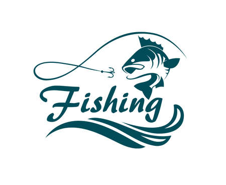 Fishing emblem with bass, waves and hook