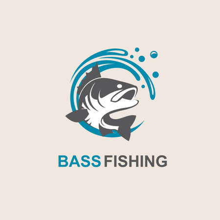 Icon of bass fish with waves Illustration