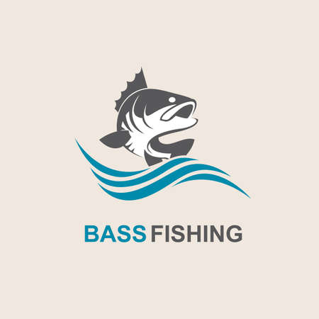 Icon of bass fish with waves Çizim
