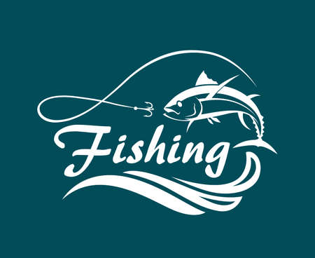 ocean waves: Fishing emblem with tuna, waves and hook